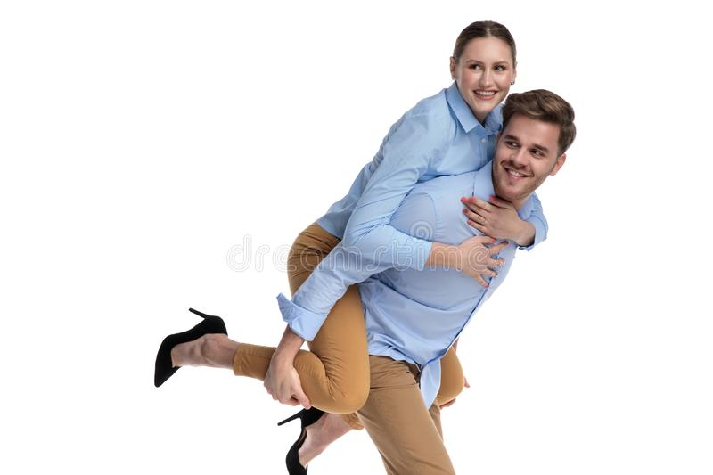 Side view of a couple having fun stock photography
