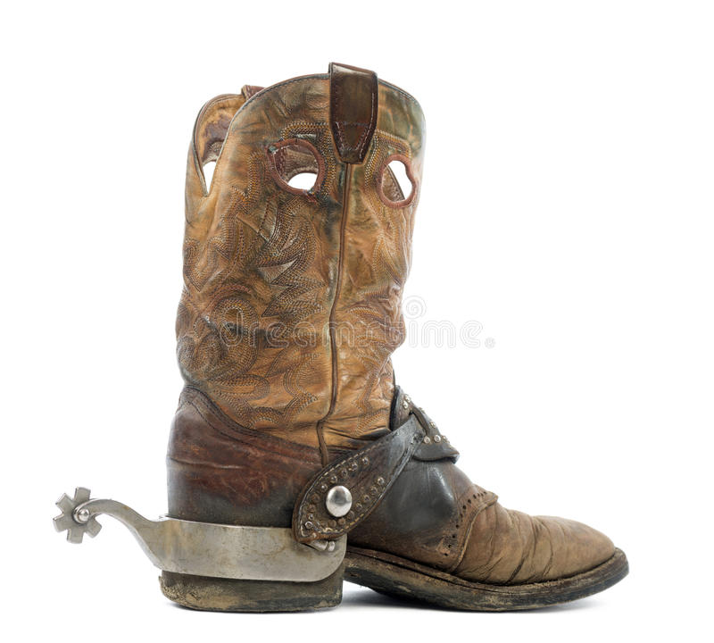 Side view of a Cowboy boot with spur stock photos