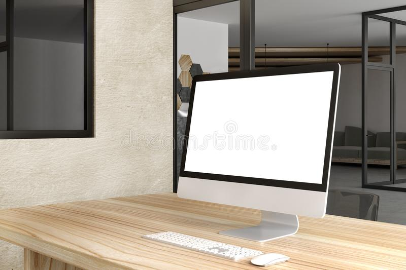 Creative designer desk with white computer stock images