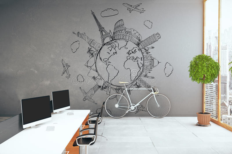 Travel agency. Side view of creative modern office with equipment, traveling sketch on concrete wall, bike, city view and decorative plant. Travel agency concept vector illustration