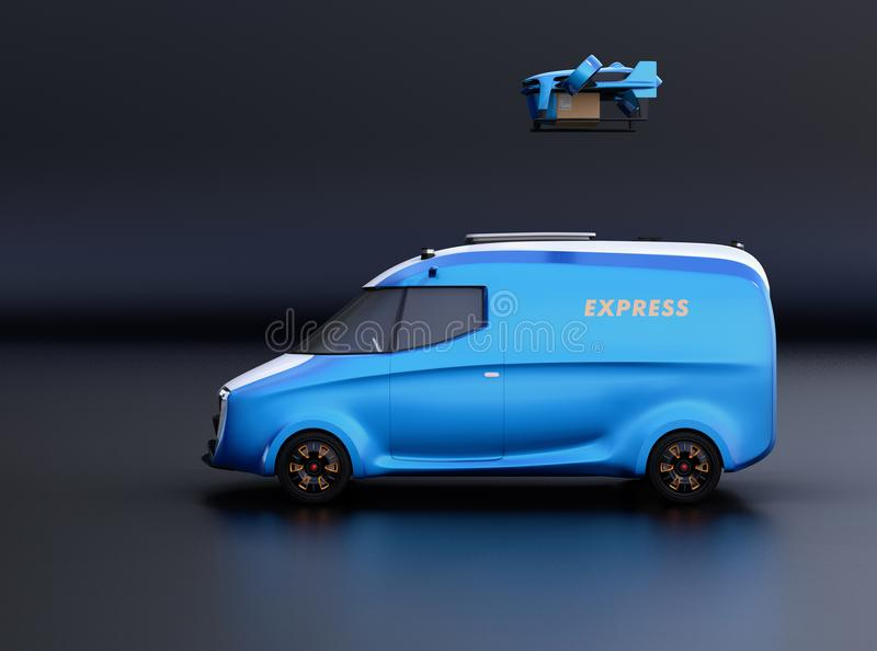 Side view of delivery drone takeoff from two-tone electric powered delivery van on black background. 3D rendering image stock illustration