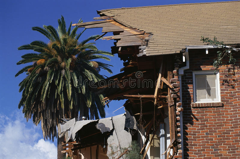 Side view of destroyed house royalty free stock photo