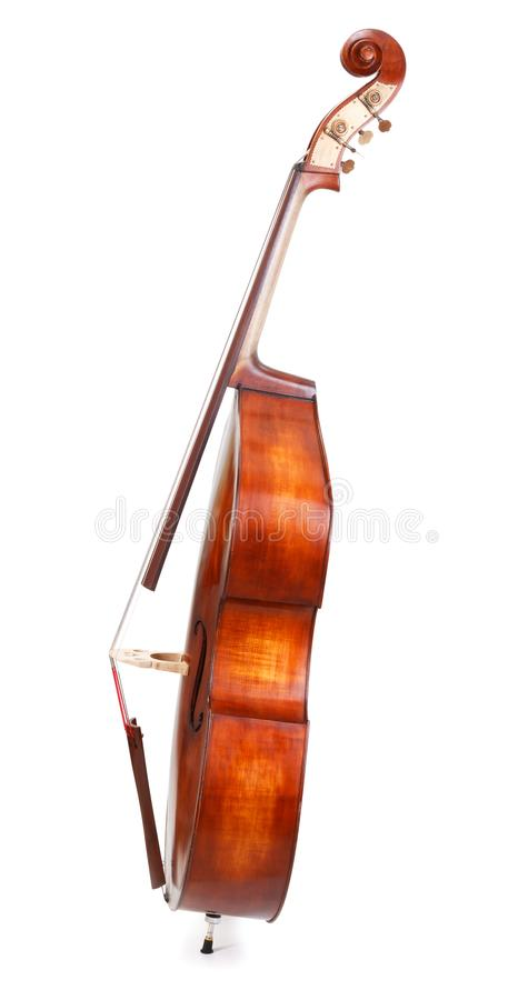 Side view of a double bass. On white background royalty free stock photography