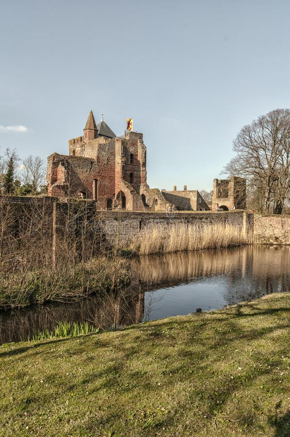Side view of dutch castle brederode royalty free stock images