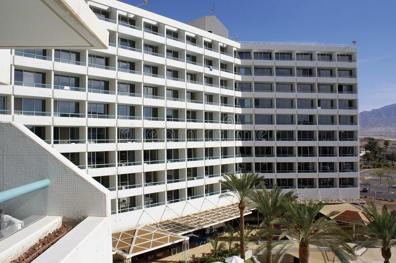 Facade of a hotel in Eilat. Side view of the facade of a modern hotel in Eilat royalty free stock images