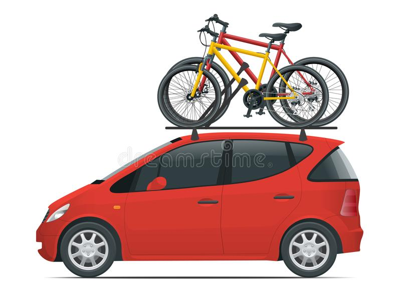 Side view flat Mini car with two bicycles mounted on the roof rack. Flat style vector illustration isolated on white. Side view flat red Mini car with two royalty free illustration