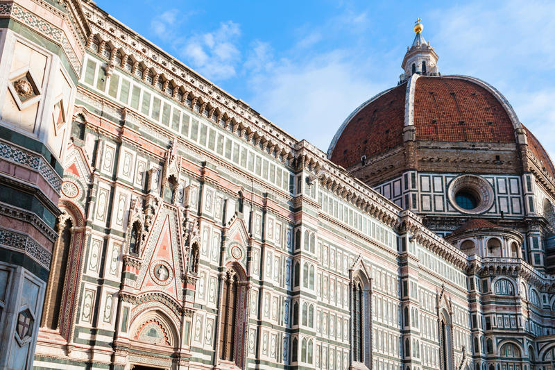 Side view of Florence Duomo Cathedral in Florece. Travel to Italy - side view of Florence Duomo Cathedral Cattedrale Santa Maria del Fiore, Duomo di Firenze stock photography