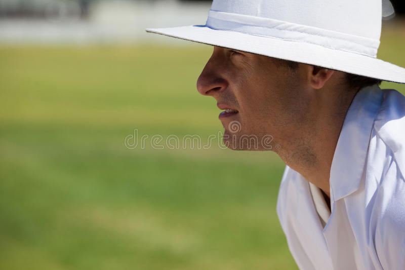Side view of focused umpire at field during cricket match royalty free stock photos