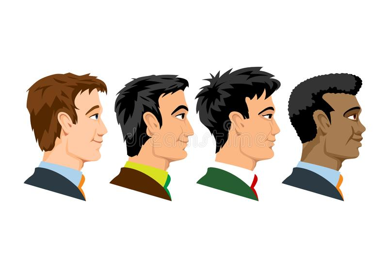 Side view of four kind of races men royalty free illustration