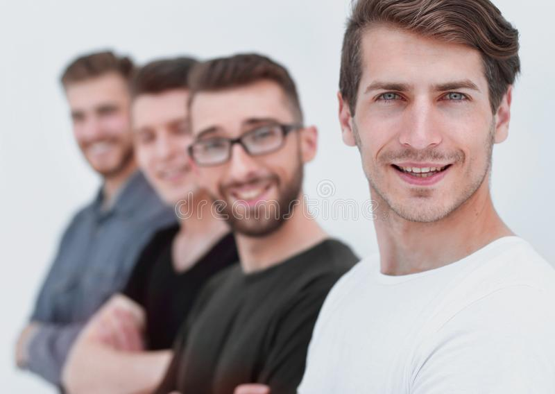 Group of friends in casual clothes, side view stock images