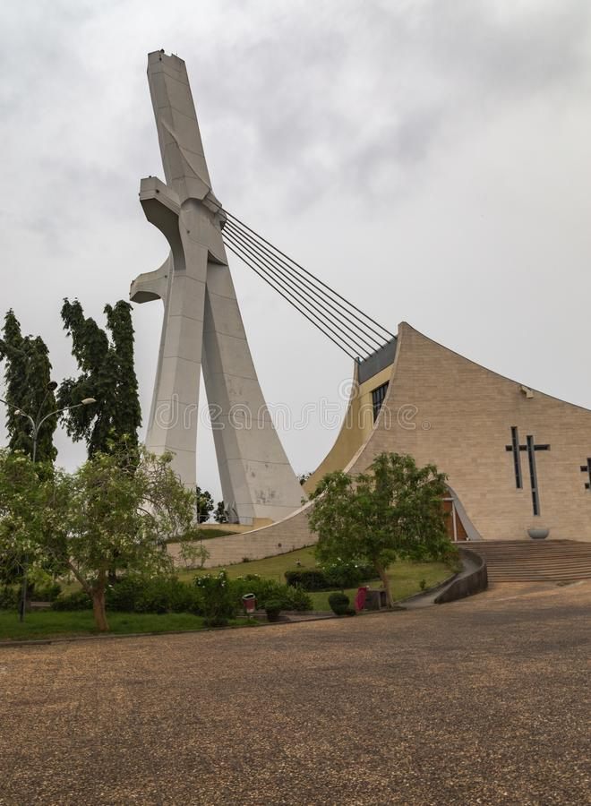 Side view of St Paul Cathedral Abidjan Ivory Coast Cote d`Ivoire. This is a side view of the front end of St. Paul Cathedral in Abidjan Ivory Coast Cote d` stock photo