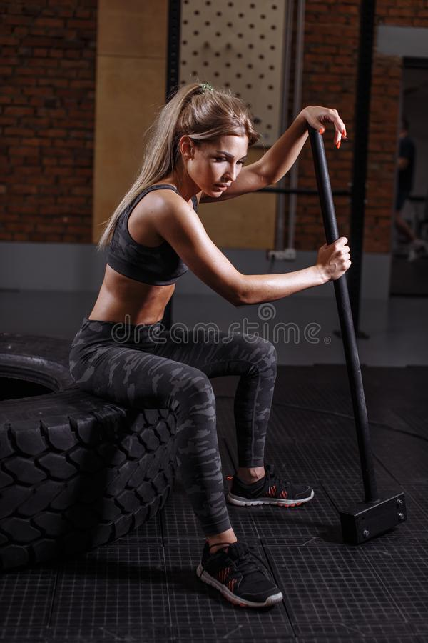 Side view photo of sporty woman wearing of working out stock photo