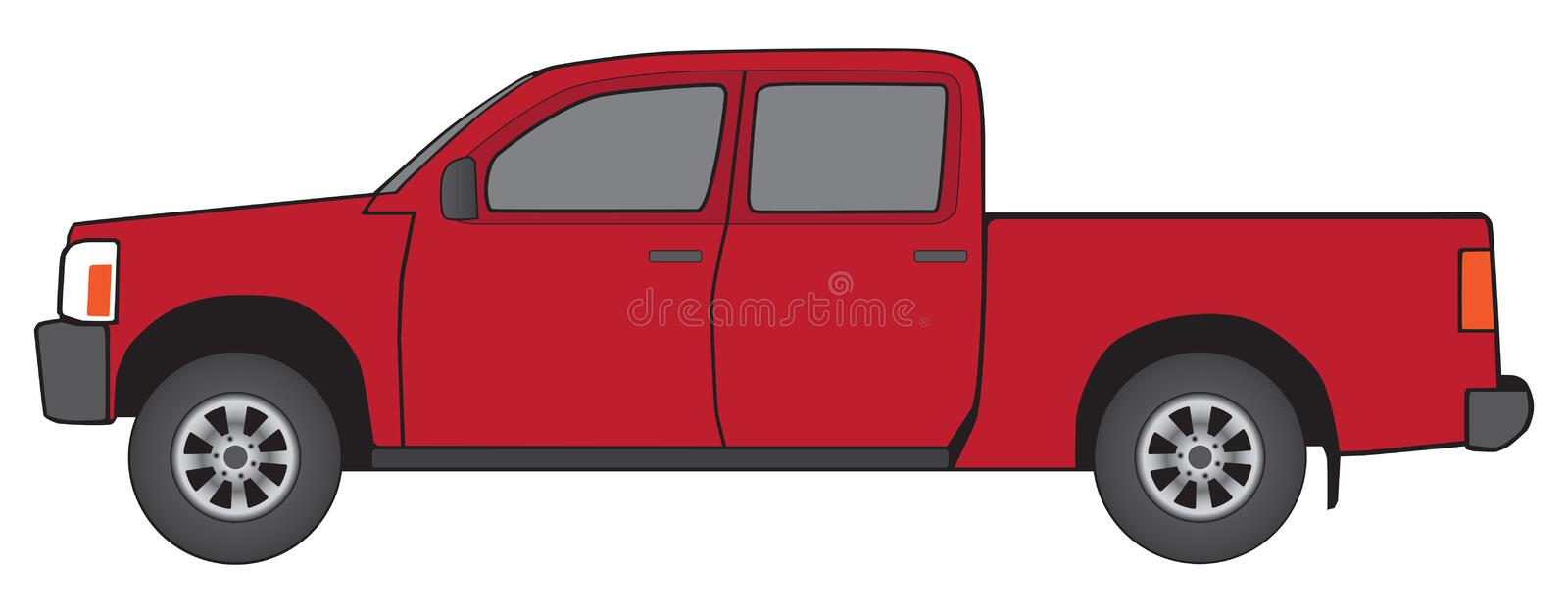 Generic Red Pickup. Side view of generic red pickup with oversized cab to accommodate passenger comfort stock illustration