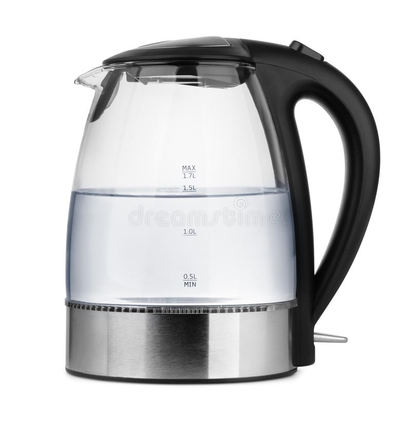 Glass electric kettle with water stock photography