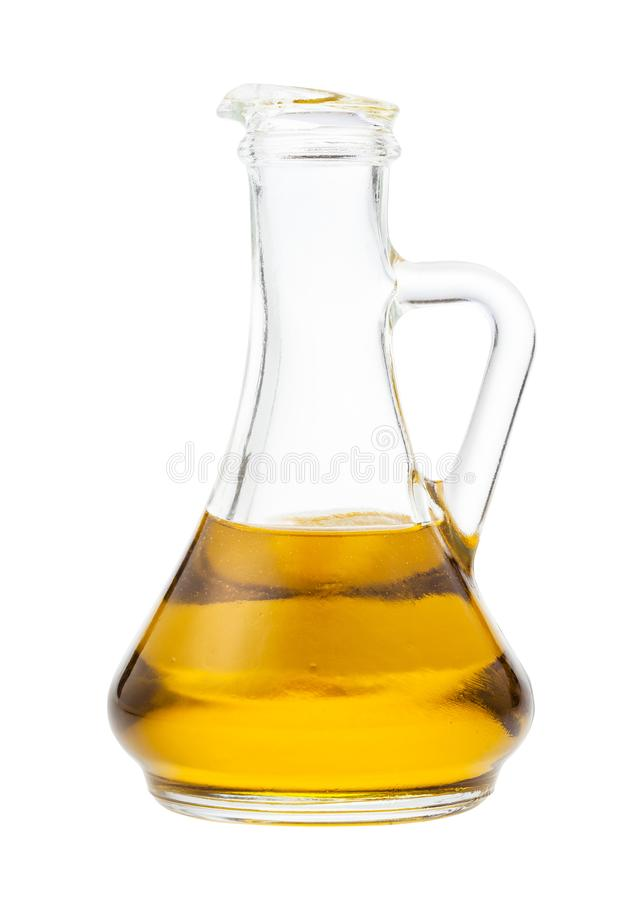 Side view of glass jug with olive oil isolated stock images