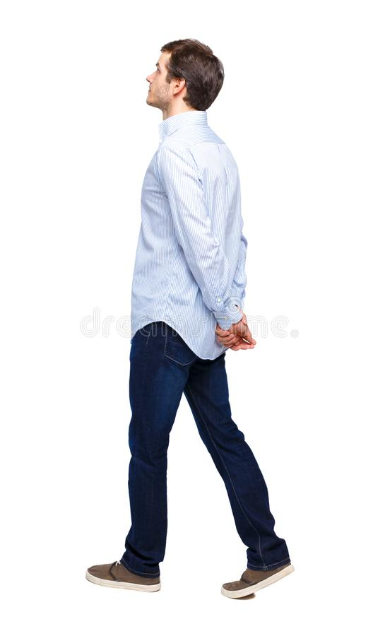 Side view of going handsome man stock photos