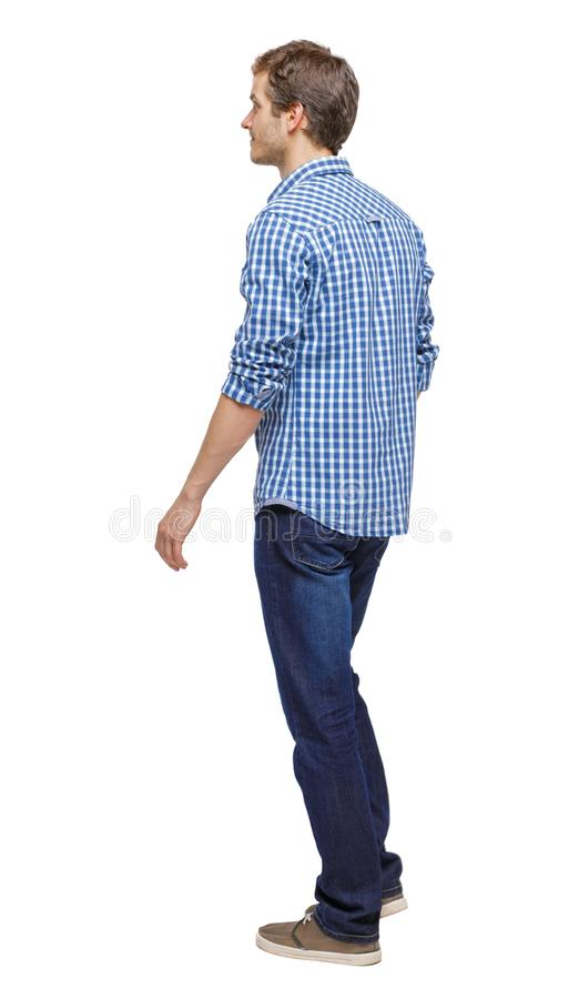 Side view of going handsome man royalty free stock images