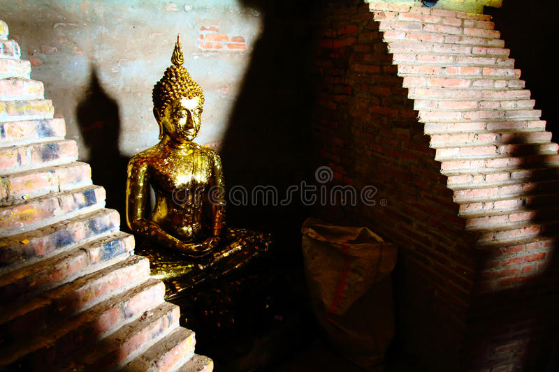 The side view of golden buddha statue in the shadow royalty free stock photography