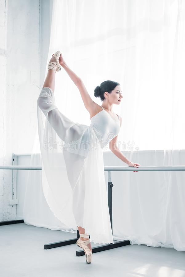 side view of graceful flexible young ballerina practicing ballet stock images