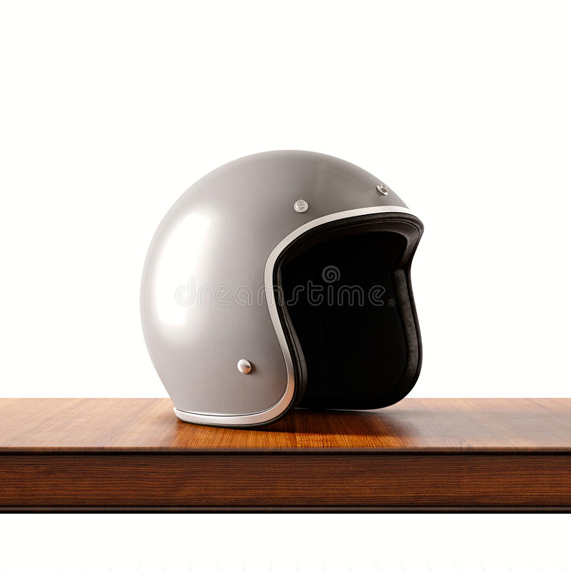 Side view of gray color retro style motorcycle helmet on natural wooden desk.Concept classic object white background. Square.3d rendering vector illustration