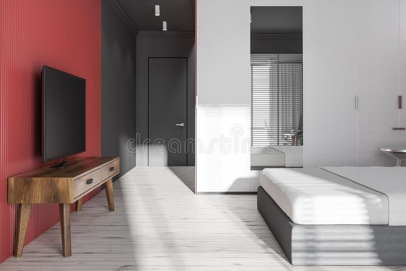 Side view of gray and red bedroom with tv set. Side view of modern bedroom with gray and red walls, wooden floor, master bed with glass table and white wardrobe vector illustration