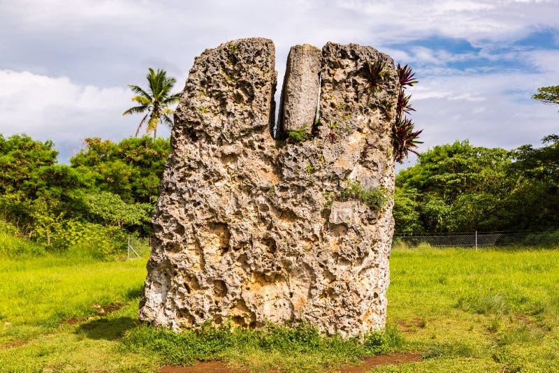 Side view of Haamonga a Maui or Burden of Maui, a stone trilithon in Tonga, Tongatapu island, Polynesia, Oceania, South Pacific. Side view of Haamonga a Maui stock photo