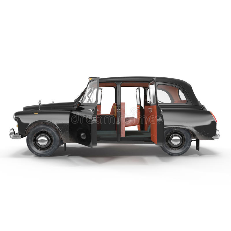 Side view hackney carriage on white. Doors opened. 3D illustration stock illustration
