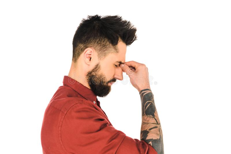 side view of handsome man with headache isolated stock images