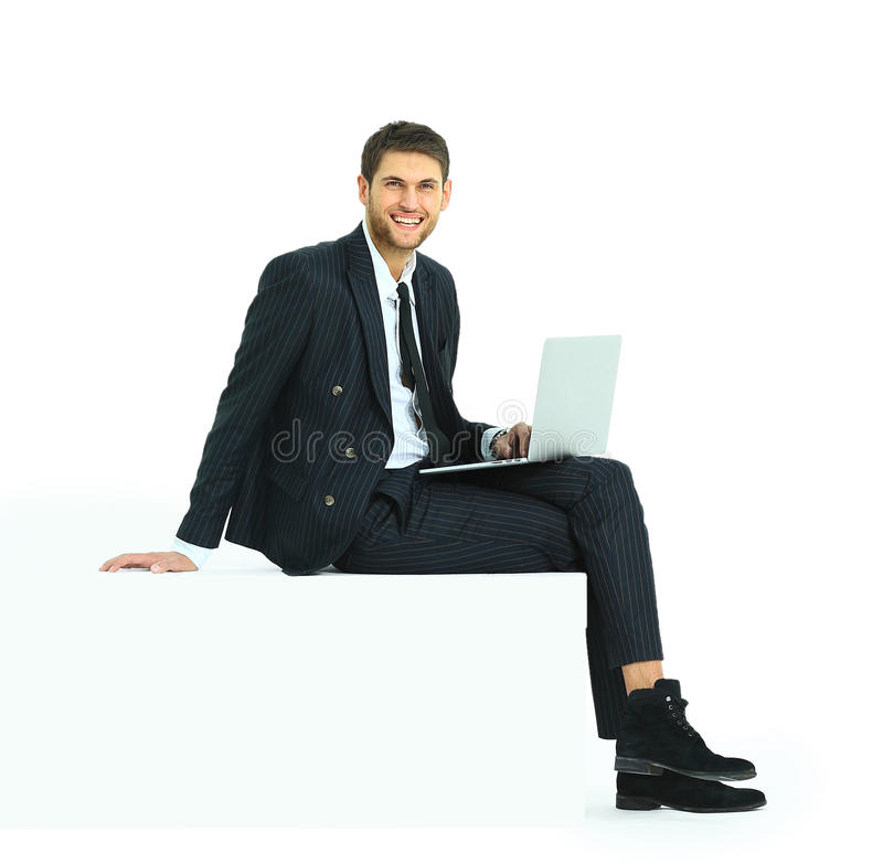 Side view of a handsome young business man royalty free stock photography