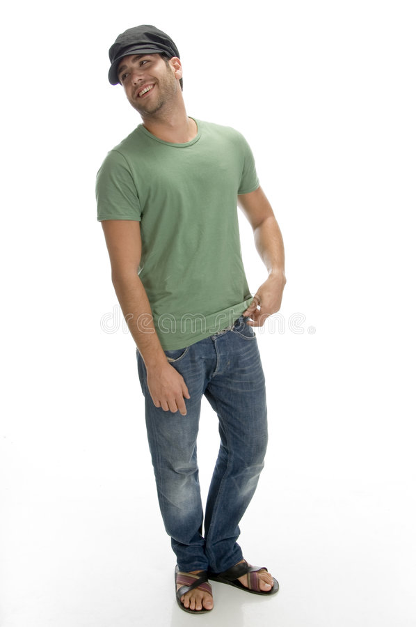 Side view of happy man stock image