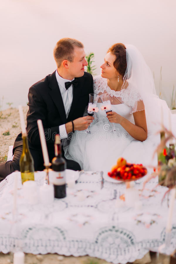 The side view of the happy newlyweds having the romantic picnic near the river. stock photo