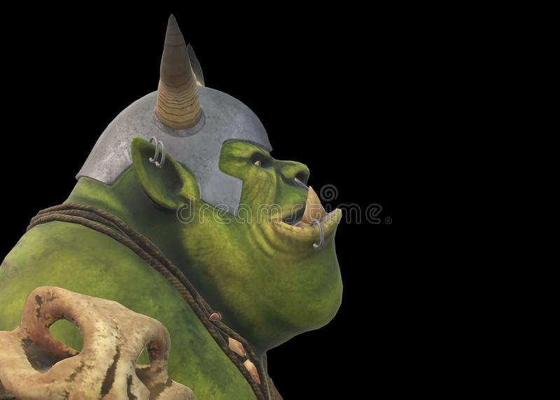 Side view of the head of a green cave troll wearing armor against a black backdrop royalty free stock photos
