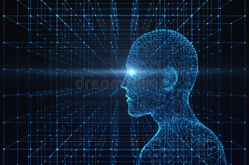 Side view of human body with light flare. Model on blue background, artificial intelligence in futuristic technology royalty free illustration