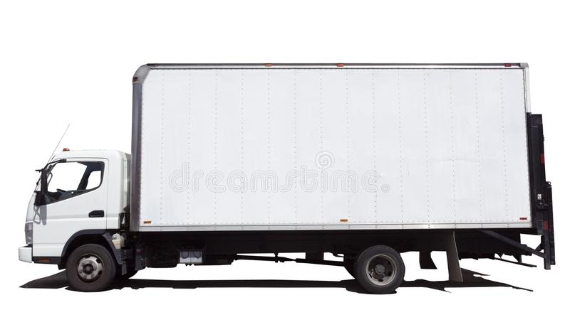 Side View of Isolated White Delivery Truck Van royalty free stock image