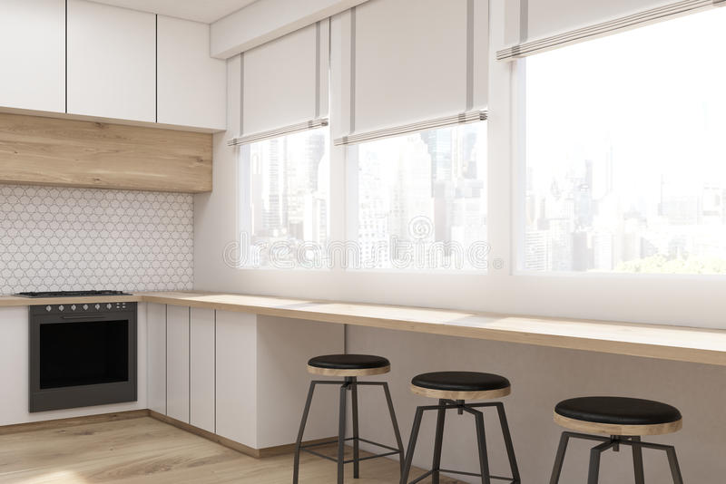 Download Side View Of Kitchen Interior With White Furniture Stock Illustration - Illustration of ceiling, indoors: 83722160