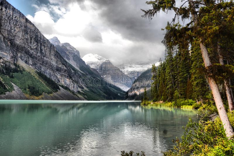 Side view of Lake Louise royalty free stock photos