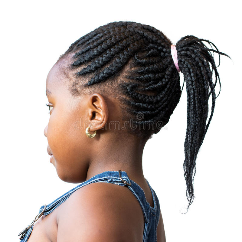 Side View Of Little African Girl With Afro Hairstyle
