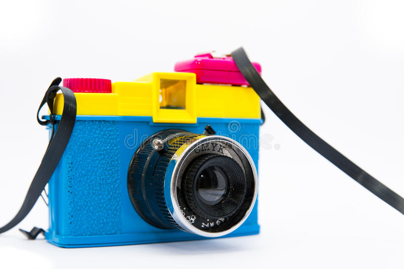 Side view of lomographic diana camera on white background stock photos