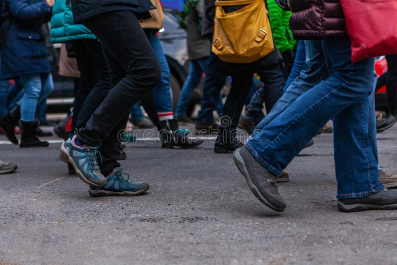 Environmental activists march in city stock image