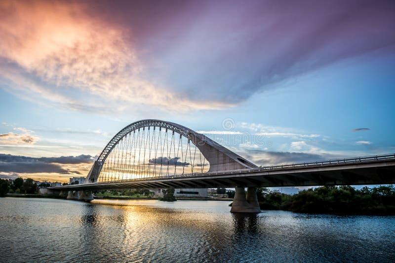 Side view of Lusitania Santiago Calatrava Bridge in Merida Spain.  stock image