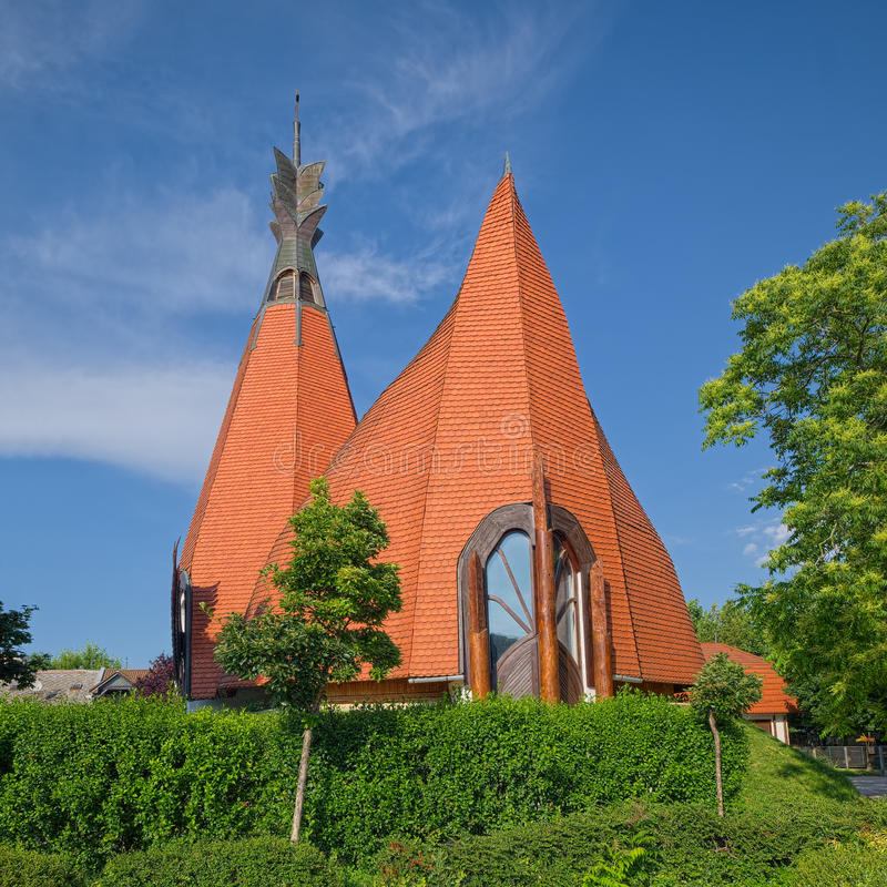 Side view of Lutheran Church of Siofok, Hungary. Modern design by Hungarian architect Imre Makovecz stock photo