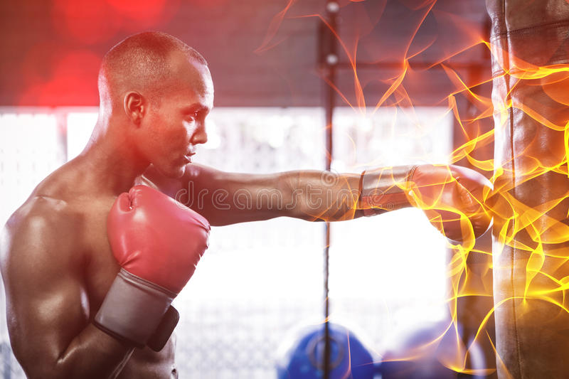 Side view of male boxer punching bag. In fitness studio stock photo