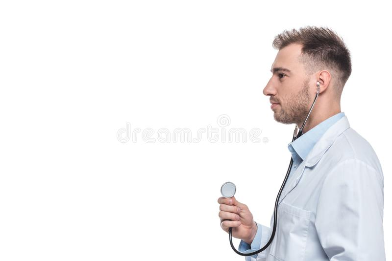 side view of male doctor with stethoscope stock photos