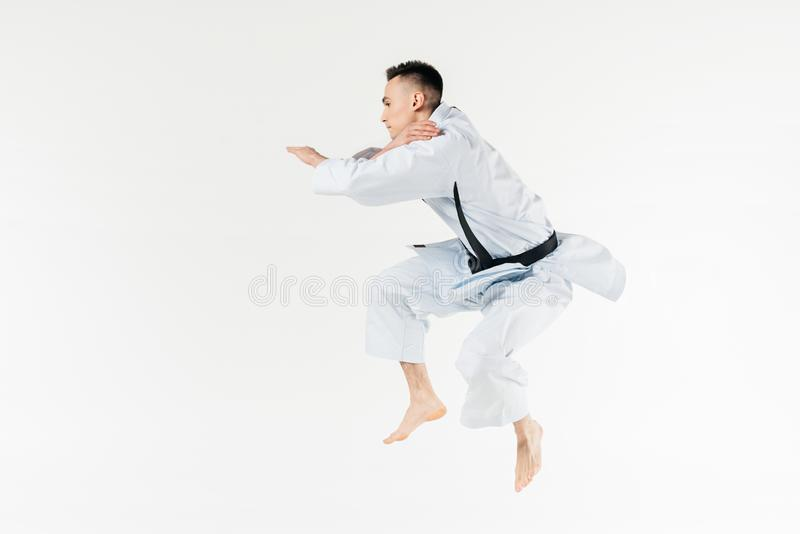 Side view of male karate fighter jumping. Isolated on white royalty free stock images