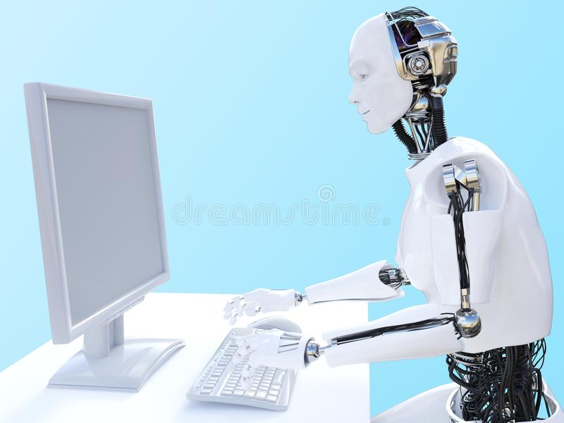 3D rendering of male robot sitting at computer. stock illustration