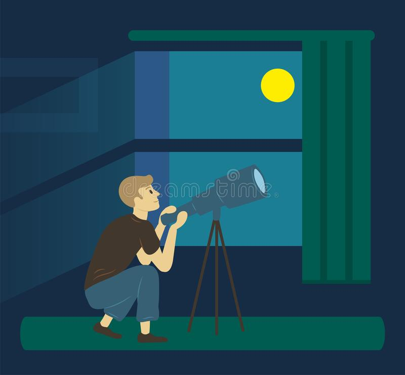 Astronomy Hobby, Man with Telescope, Moon Vector. Side view of man looking thought telescope, dark view from window. Hobby of male researching sky, vision of royalty free illustration
