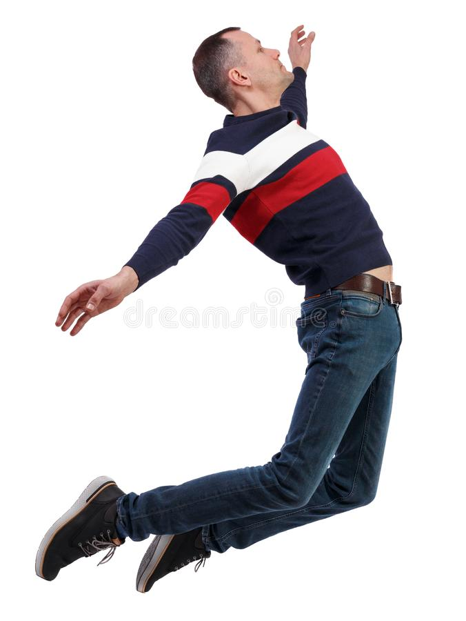 Side view of man in zero gravity or a fall stock photos