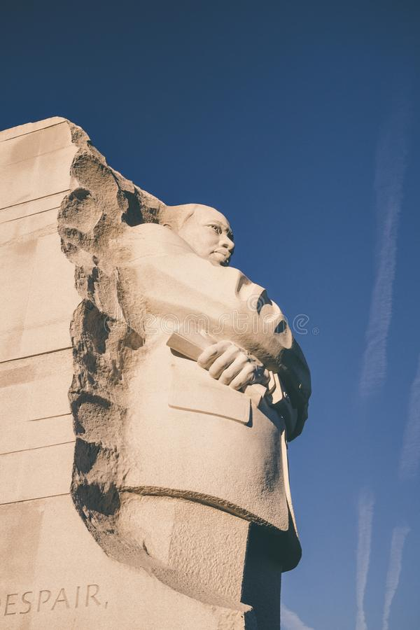 Martin Luther King Jr Monument in Washington DC. A side view of the Martin Luther King Jr Monument in Washington D.C stock image