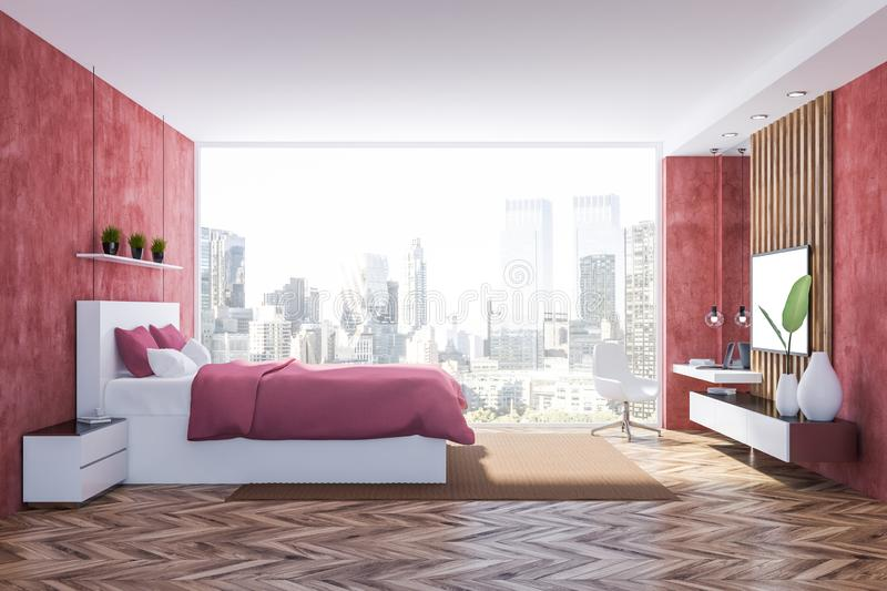Red bedroom with tv side view. Side view of master bedroom interior with red walls, wooden floor, panoramic window, red master bed and home office corner with royalty free illustration
