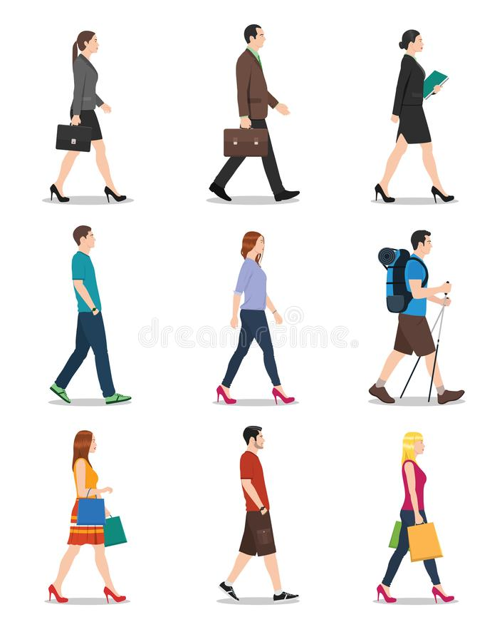Side View of Men and Women Walking royalty free illustration